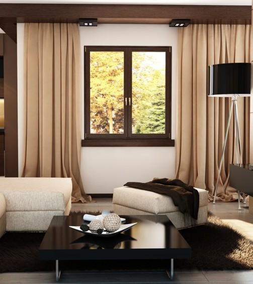 Okno PCV na białej ścianie z widokiem na las